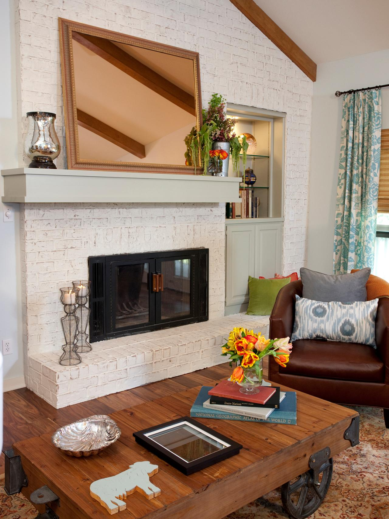 15 gorgeous painted brick fireplaces hgtv 39 s decorating Color ideas for living room with brick fireplace