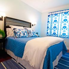 Blue and White Floral Bedroom