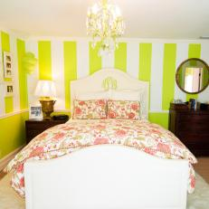 Lime Green & White Striped Master Bedroom