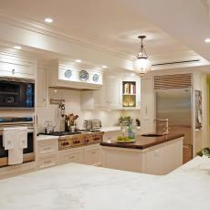 White Traditional Kitchen With With Ample Counter Space