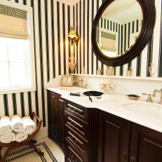 Black and White Striped Bathroom With Dark Brown Accents