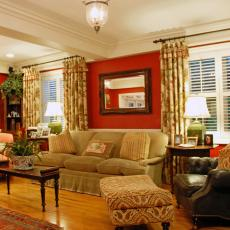 Cozy, Traditional Family Room With Bold Color