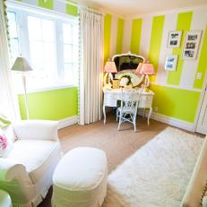 Lime Green & White Striped Bedroom With Vanity