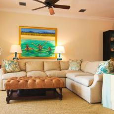 Neutral Living Room With Custom Oil Painting
