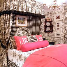 Eclectic Bedroom With Black & White Toile Furnishings