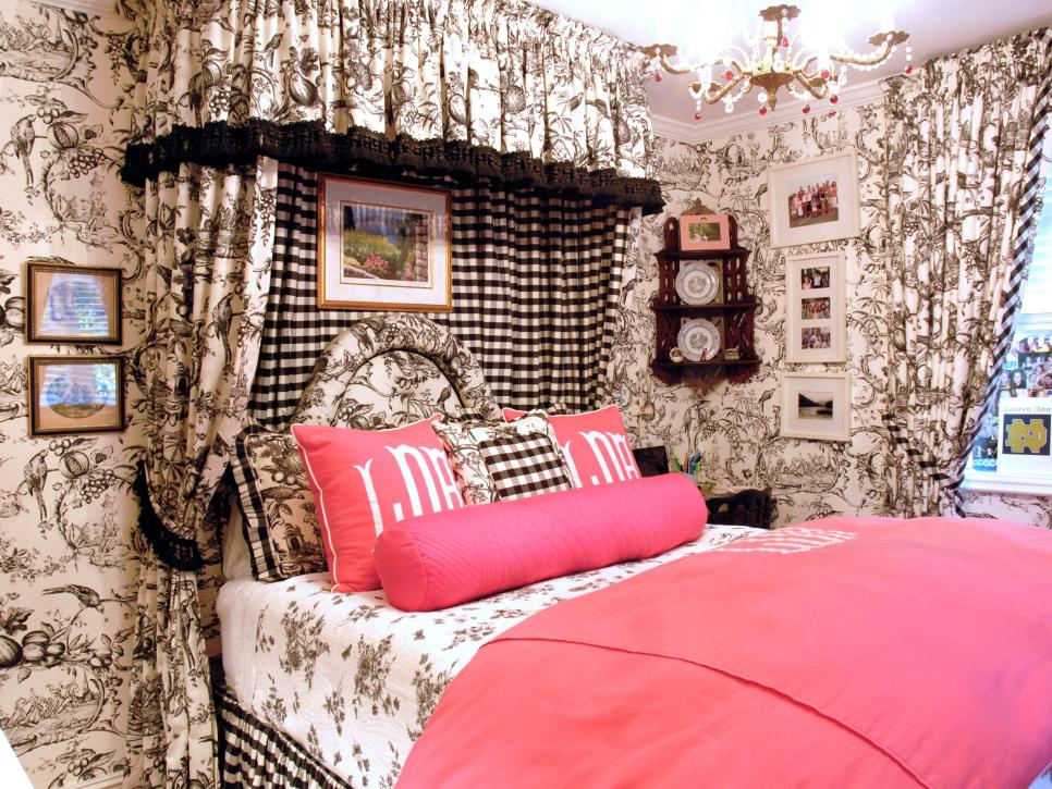 Eclectic Bedroom with Black and White Toile Walls and Fuchsia Bedding