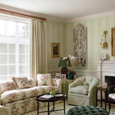 Antique-Filled Traditional Living Room in Cream and Green