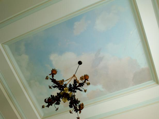Painted Sky and Clouds on Ceiling With French Chandelier