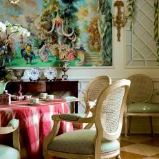 An Italian Inspired Mural Backdrops a Dining Room