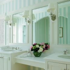 Blue and White Striped Double Vanity Bathroom