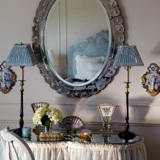 Skirted Vanity Table & Scalloped Mirror