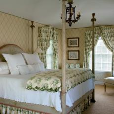 Soothing Green Toned Traditional Master Bedroom