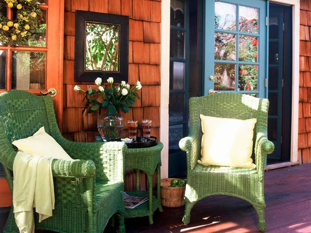 Cape Cod Porch With Green Chairs