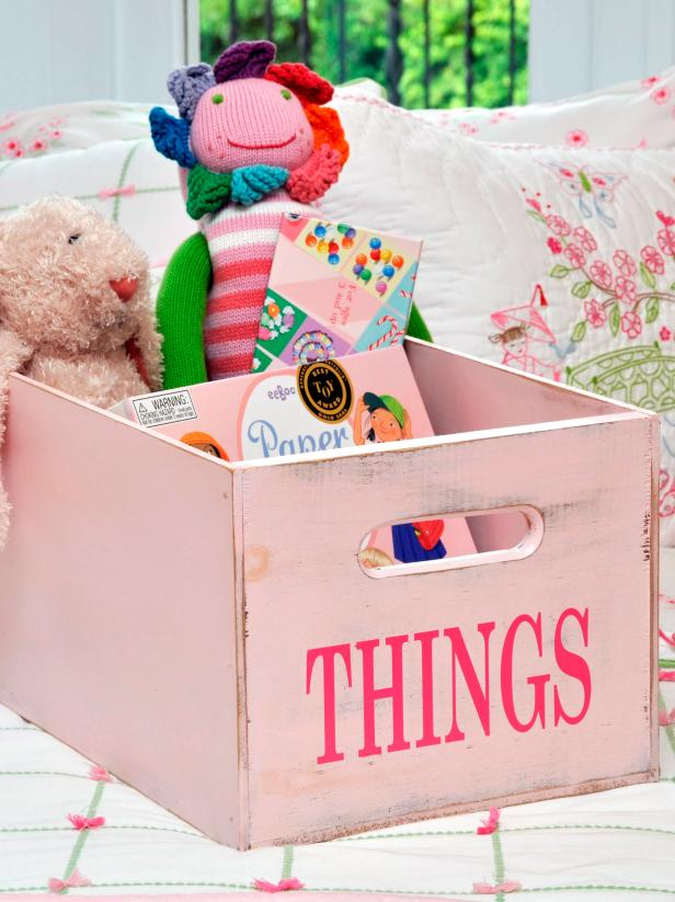 Pink Toy Box With Doll, Bunny and Books