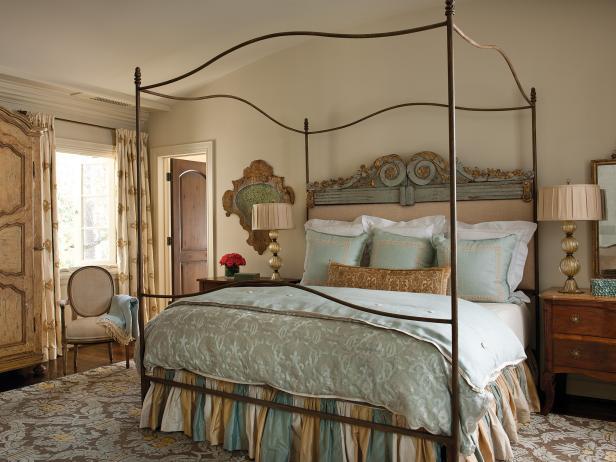 Iron Canopy Bed with Pastel Bedding