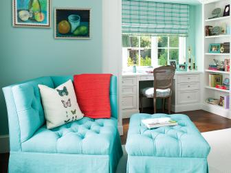 Bedroom Sitting Area With Blue Corner Chair and Ottoman
