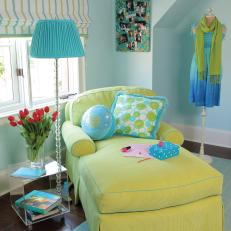 Blue Eclectic Lounge With Light Green Chaise and Striped Pull-Up Curtains