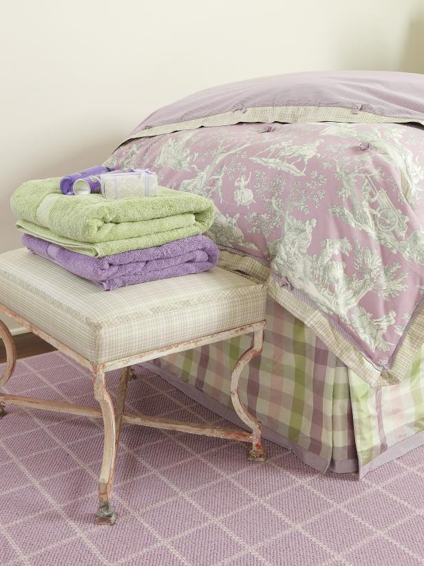 Lavender Guest Bedroom With Changing Bench