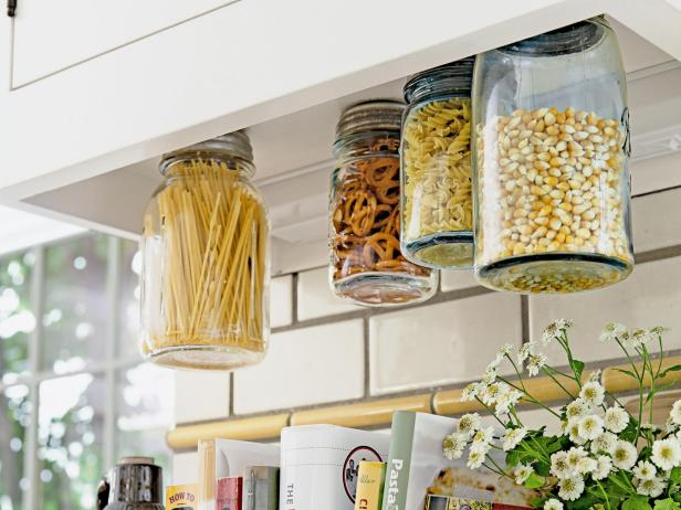 Hanging Glass Mason Jar Storage for Kitchens