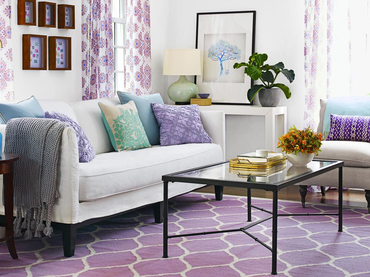 Transitional Living Room With Purple And Teal Accents Hgtv