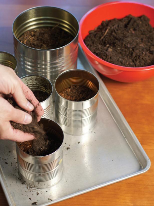 After filling bottom of cans with a shallow layer of rocks, top with a layer of potting soil, making sure to only fill each can two-thirds full.