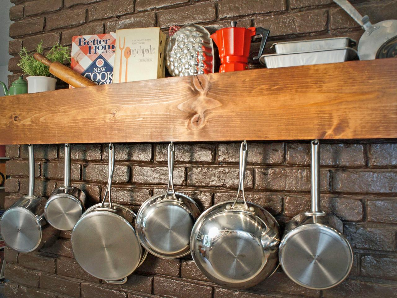 Diy Kitchen Storage Shelf And Pot Rack Hgtv