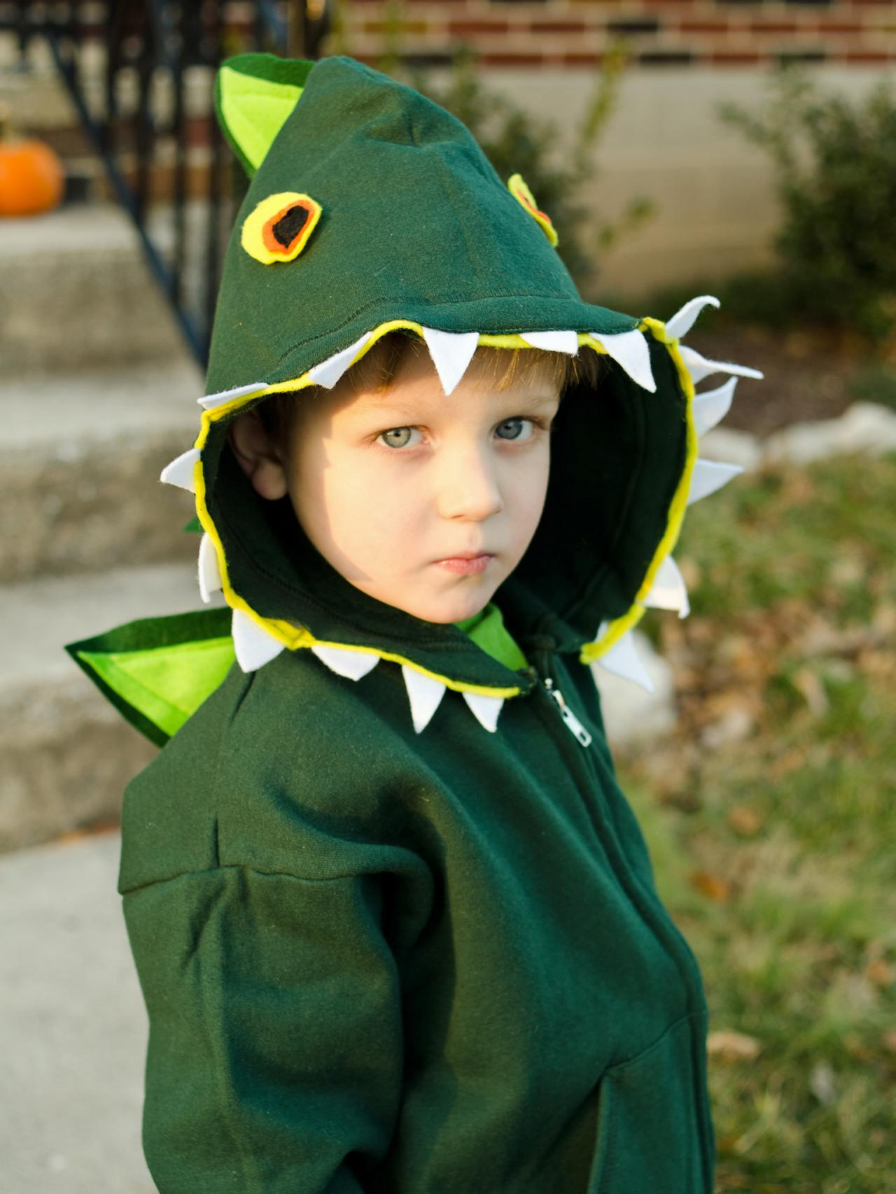 easy diy kids dinosaur costume | hgtv