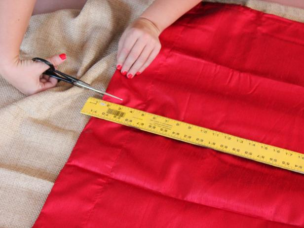 No-sew shower curtain; preparation and cutting draperies for stripes.