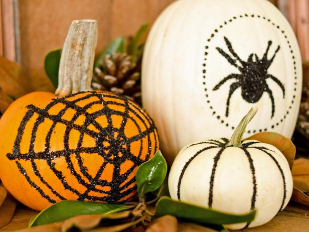 Glittered Pumpkins with Halloween Designs