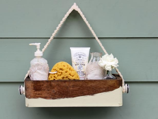 Chic Bathroom Caddy with a Rustic Look
