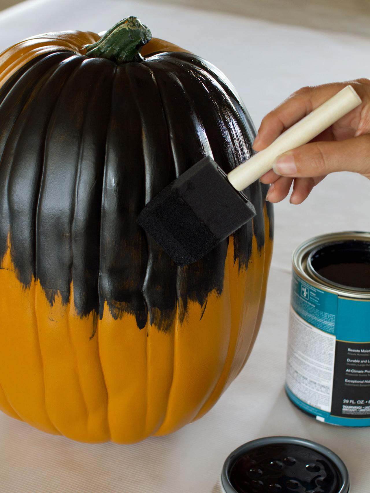 Painting A Pumpkin With Black Paint