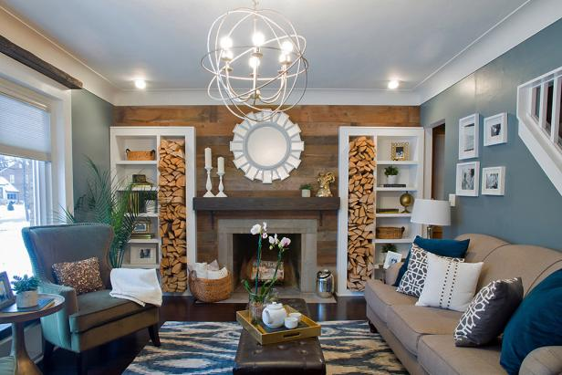 Pretty firewood storage ideas diy network blog made - Family room wall ideas ...