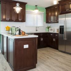 Mint Green Kitchen With Dark Brown Cabinets