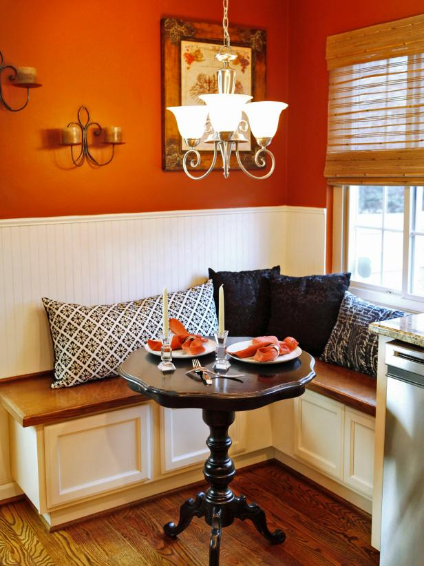 Orange Cottage Built In Banquette Nice Ideas
