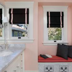 Pink Bathroom With Black Roman Shades