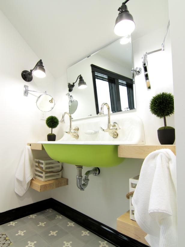 Eclectic Bathroom Green Sink