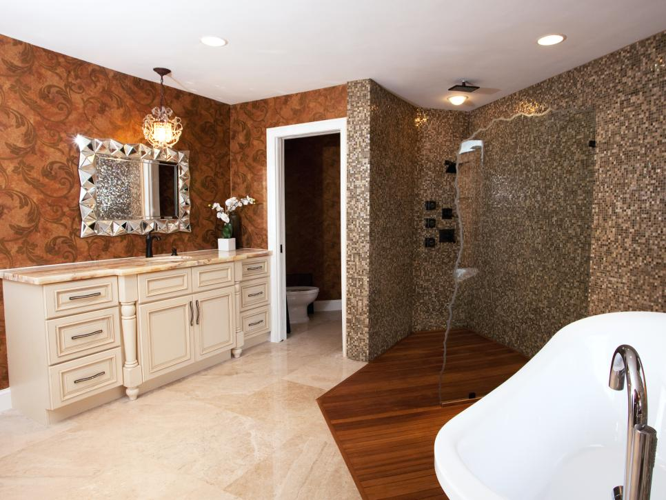 Bathroom With White Vanity, Crystal Chandelier and Open Shower