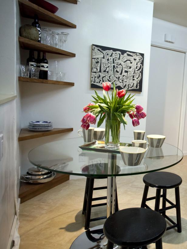 Modern Glass Dining Table & Black Barstools in White Breakfast Nook