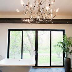 Neutral Modern Bathroom With Abstract Chandelier