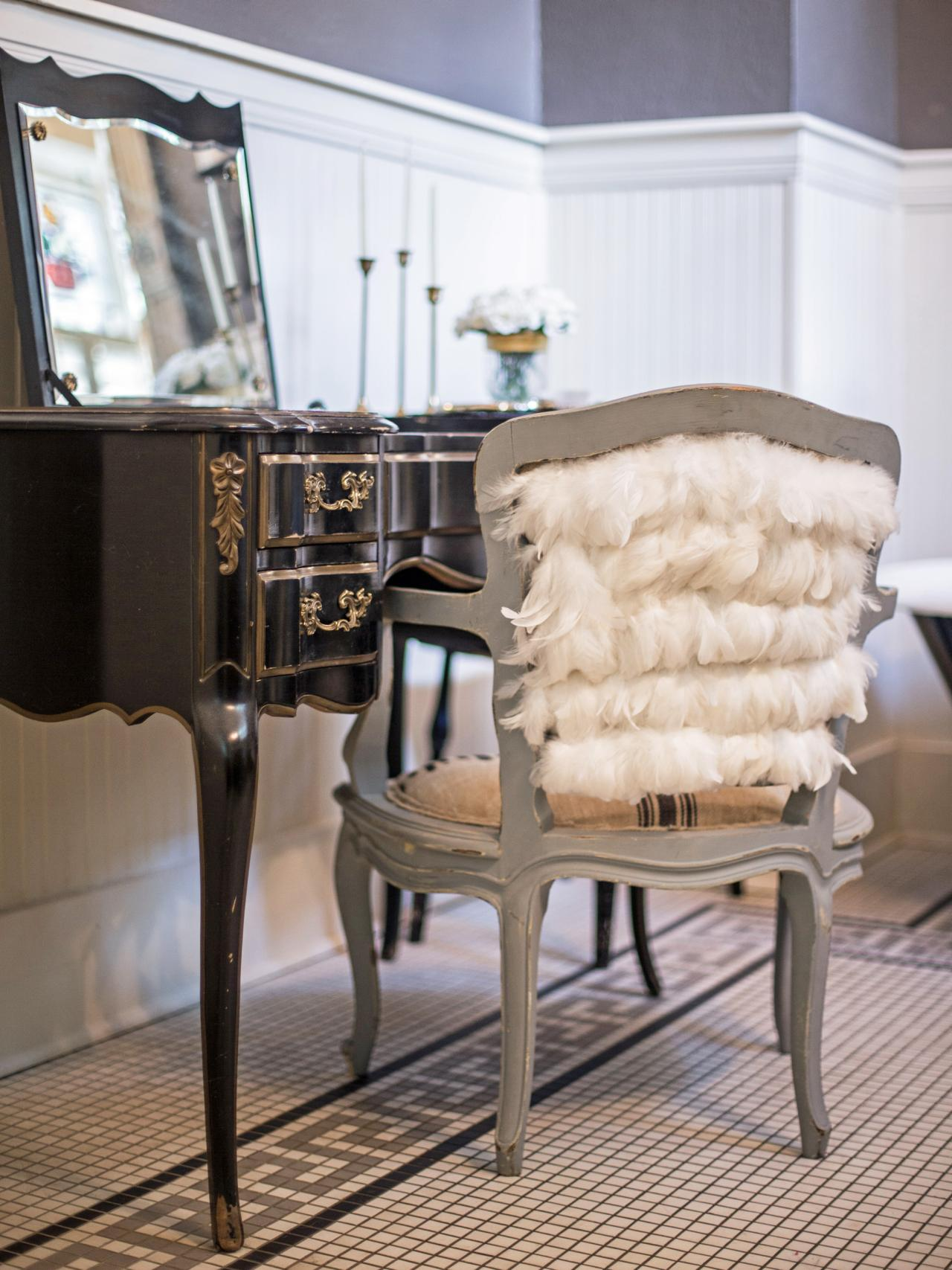 vanity chair with back Embellish a Vanity Chair With Feathers | HGTV vanity chair with back