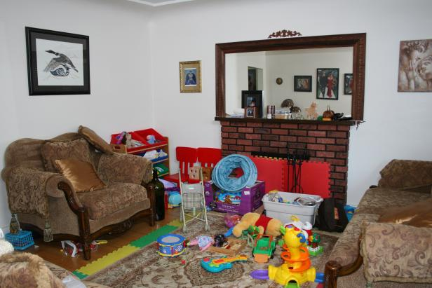 Before: Toy-Filled Living Room