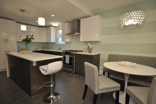 Modern White and Mint Green Kitchen with Dinette