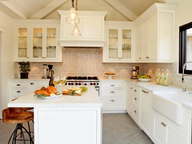 white country kitchen with tile accent wall - White Farmhouse Kitchen