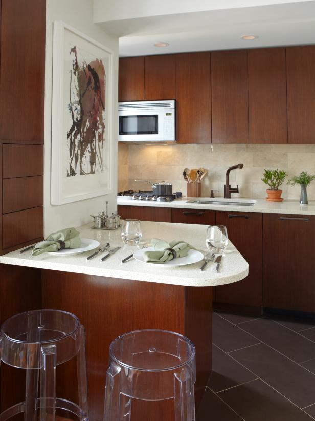Modern Apartment Kitchen Features Streamlined Cabinetry