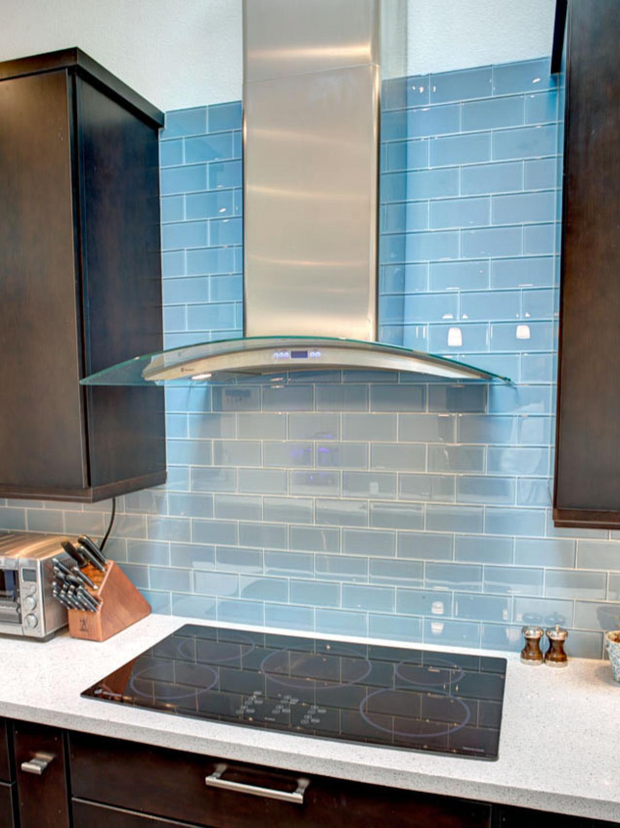 Modern Blue Tile Backsplash and Hood | HGTV