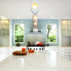 Modern White Kitchen With Large Island
