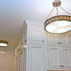 Drum Pendant Light In White Kitchen