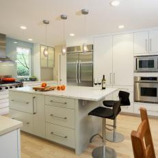 Contemporary White and Gray Kitchen with Sage Gray Island