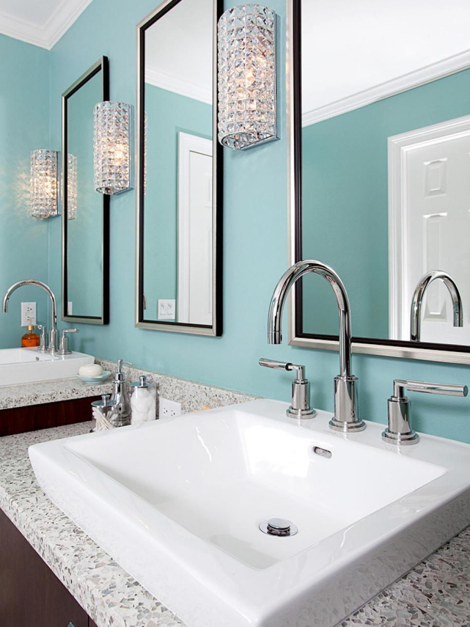 Blue Master Bathroom With Double Sinks