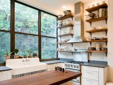 Modern Kitchen with Rustic Touches and Open Storage